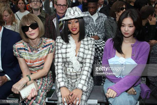 Anna Wintour, Cardi B and Jennie Kim attend the Chanel Womenswear Spring/Summer 2020 show as part of Paris Fashion Week on October 01, 2019 in Paris,...