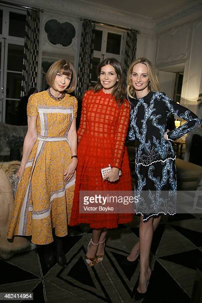 Anna Wintour Dasha Zhukova and Lauren Santo Domingo attend the party for Dasha Zhukova' cover for Wall Street Journal on January 27 2015 in Paris...