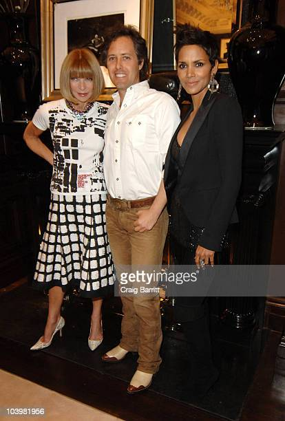 Anna Wintour, David Lauren and Halle Berry at the Ralph Lauren celebration of Fashion's Night Out at Ralph Lauren Mansion on September 10, 2010 in...
