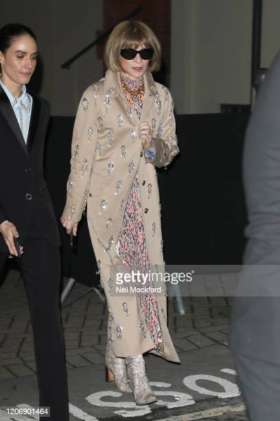 Anna Wintour departs Burberry at Kensington Olympia during LFW February 2020 on February 17 2020 in London England