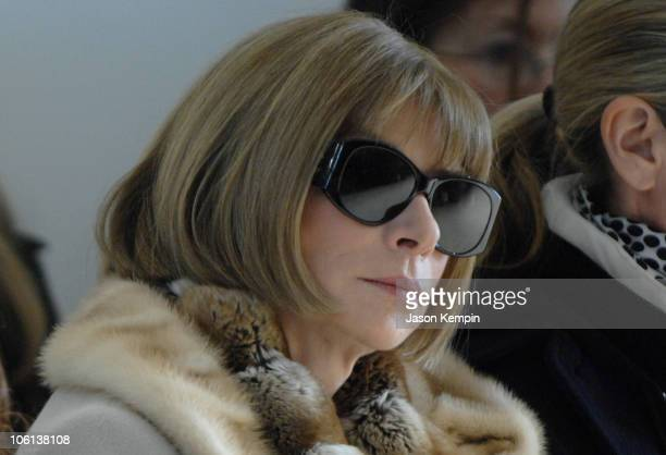 Anna Wintour during MercedesBenz Fashion Week Fall 2007 Calvin Klein Front Row at 205 West 39th Street in New York City New York United States