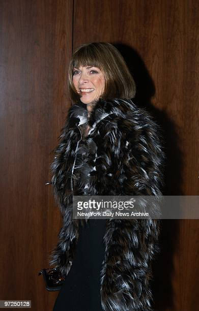 Anna Wintour editor in chief of Vogue arrives at the Tribeca Grand Hotel on Sixth Ave where she and Miramax Films' Harvey Weinstein cohosted a sneak...