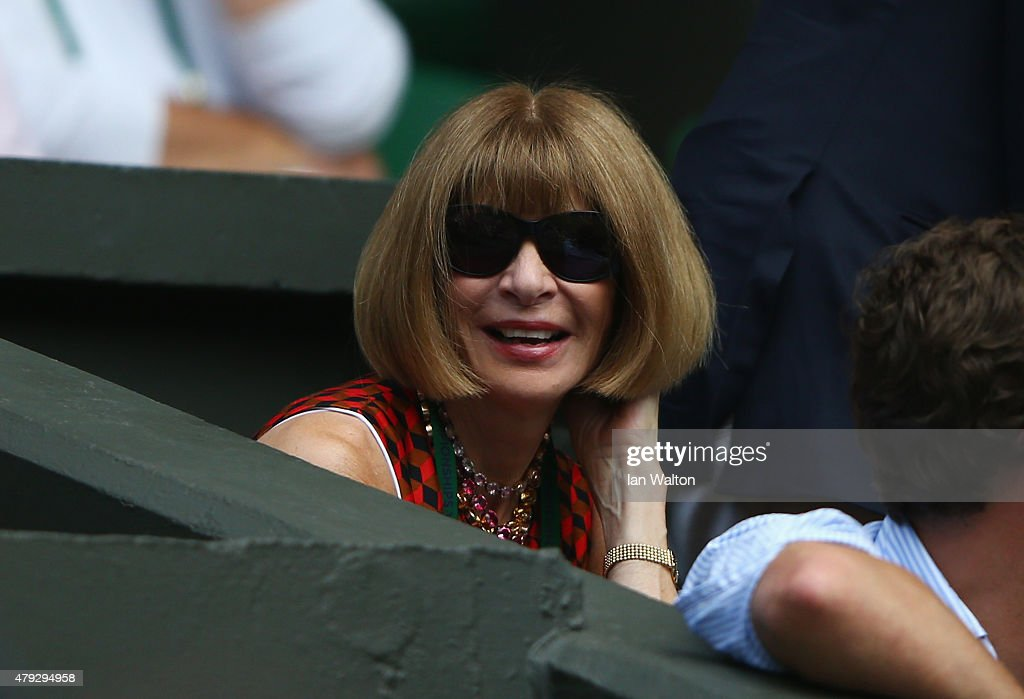 Anna Wintour, editor of American Vogue watches on Centre court during day four of the Wimbledon Lawn Tennis Championships at the All England Lawn Tennis and Croquet Club on July 2, 2015 in London, England.