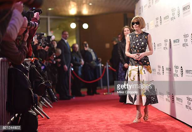 Anna Wintour editorinchief of American Vogue attends the 'First Monday In May' world premiere during the 2016 Tribeca Film Festival opening night at...