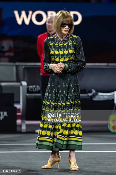 Anna Wintour Editorinchief of Vogue and Artistic Director of Conde Nast during Day 2 of the Laver Cup 2019 at Palexpo on September 21 2019 in Geneva...