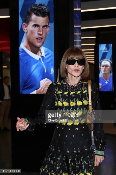Anna Wintour Editorinchief of Vogue and Artistic Director of Conde Nast arrives at Palexpo ahead of the start of play on Day Two of the Laver Cup...