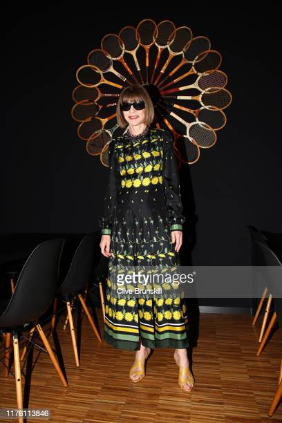 Anna Wintour Editorinchief of Vogue and Artistic Director of Conde Nast poses for a photo as she arrives at Palexpo ahead of the start of play on Day...