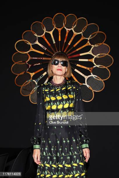 Anna Wintour, Editor-in-chief of Vogue and Artistic Director of Conde Nast poses for a photo as she arrives at Palexpo ahead of the start of play on...