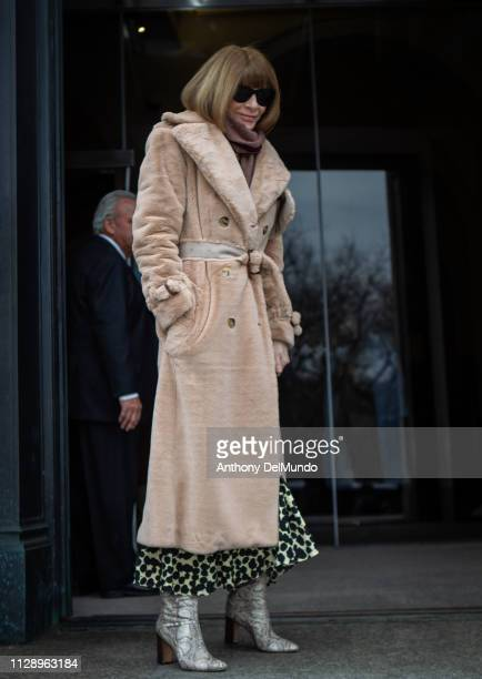 Anna Wintour editorinchief of Vogue attends the Carolina Herrera fall 2019 runway show during New York Fashion Week held at New York Historical...