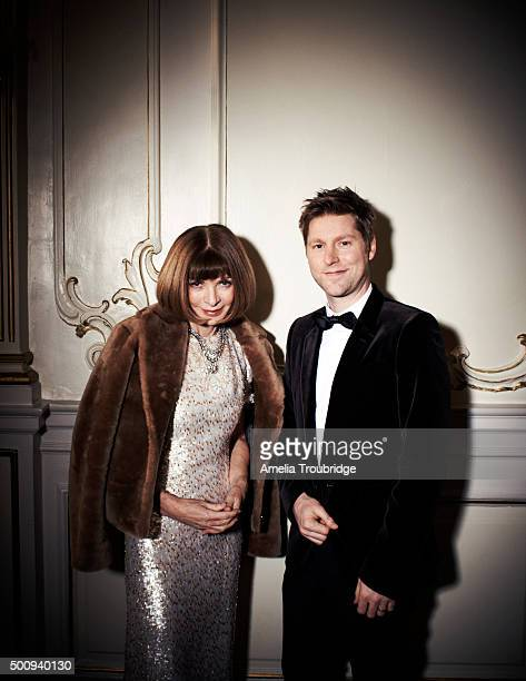Anna Wintour editorinchief of Vogue with Christopher Bailey Ceo of Burberry are photographed for ES magazine on September 8 2014 in London England
