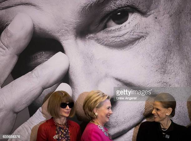 Anna Wintour Former Secretary of State Hillary Clinton and Annette de la Renta prepare to pose for a photo during an unveiling ceremony for the US...
