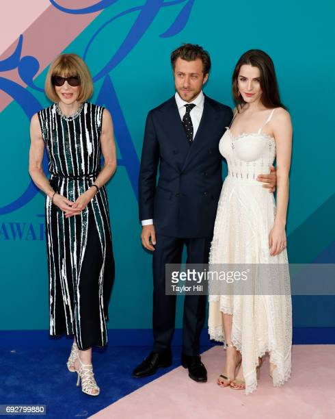 Anna Wintour Francesco Carrozini and Bee Shaffer attend the 2017 CFDA Fashion Awards at Hammerstein Ballroom on June 5 2017 in New York City