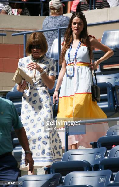 Anna Wintour her daughter Bee Shaffer attend the match of Roger Federer of Switzerland in his player's box during day 4 of the 2018 tennis US Open on...