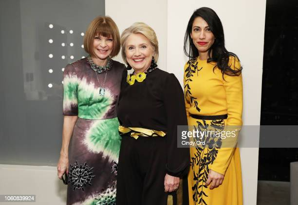 Anna Wintour Hillary Clinton and Huma Abedin pose backstage at the 2018 Glamour Women Of The Year Awards Women Rise on November 12 2018 in New York...