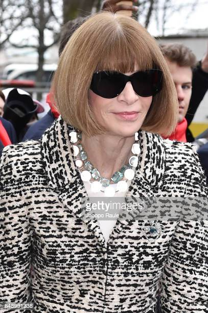 Anna Wintour is seen arriving at Chanel fashion show during the Paris Fashion Week Womenswear Fall/Winter 2017/2018 on March 7 2017 in Paris France