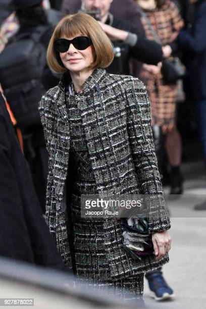 Anna Wintour is seen arriving at Chanel Fashion Show during the Paris Fashion Week Womenswear Fall/Winter 2018/2019 on March 6 2018 in Paris France