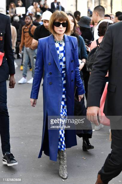 Anna Wintour is seen arriving at Dries van Noten fashion show during Paris Fashion Week Womenswear Fall/Winter 2019/2020 on February 27 2019 in Paris...