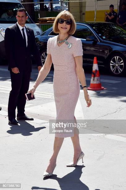 Anna Wintour is seen arriving at the 'Chanel' show during Paris Fashion Week Haute Couture Fall/Winter 20172018 on July 4 2017 in Paris France
