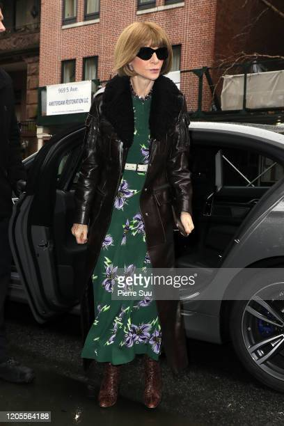 Anna Wintour is seen arriving at the Vera Wang show during New York Fashion Week on February 11, 2020 in New York City.