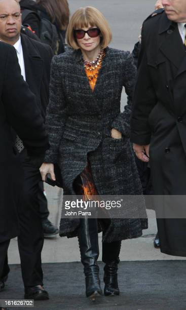 Anna Wintour is seen during Fall 2013 MercedesBenz Fashion Week at Lincoln Center for the Performing Arts on February 13 2013 in New York City