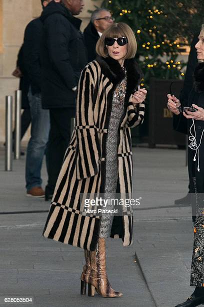 Anna Wintour is seen in front of the 'RITZ' hotel during the 'Chanel collection des Metiers d'Art 2016/2017' on December 6 2016 in Paris France