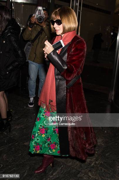 Anna Wintour is seen leaving Alexander Wang fashion show during New York Fashion Week at 4 Times Square on February 10 2018 in New York City