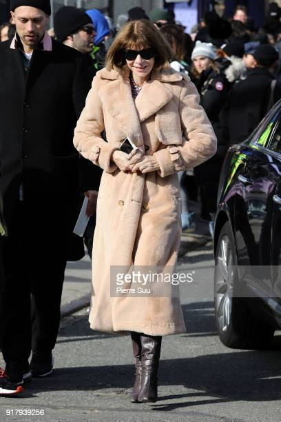 Anna Wintour is seen leaving the 'Coach' show during the New York Fashion Week 2018 on February 13 2018 in New York City