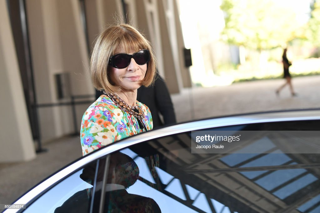 Anna Wintour is seen leaving the Gucci show during Milan Fashion Week Spring/Summer 2018 on September 20, 2017 in Milan, Italy.