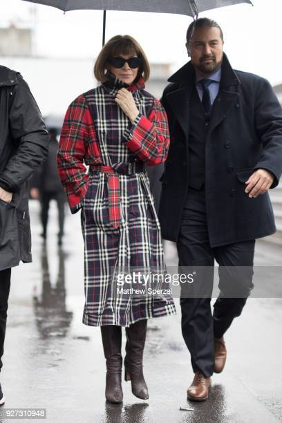 Anna Wintour is seen on the street attending Balenciaga during Paris Women's Fashion Week A/W 2018 wearing Balenciaga on March 4 2018 in Paris France
