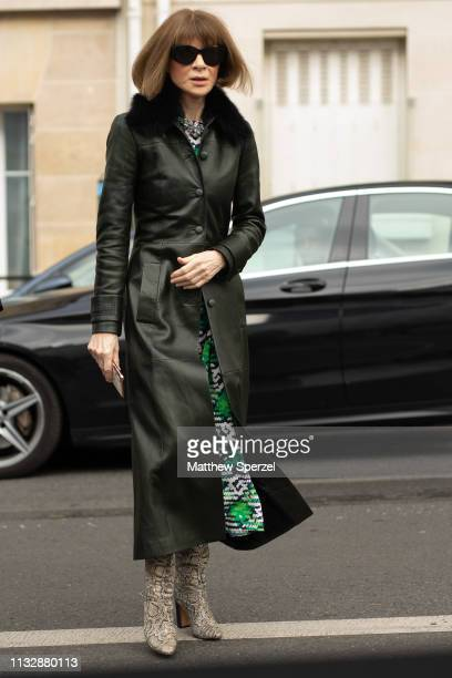 Anna Wintour is seen on the street attending CHLOE during Paris Fashion Week AW19 wearing CHLOE on February 28 2019 in Paris France
