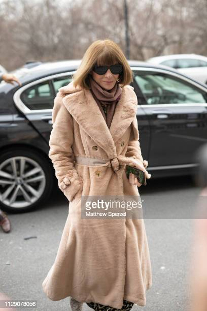 Anna Wintour is seen on the street during New York Fashion Week AW19 wearing Carolina Herrera on February 11 2019 in New York City