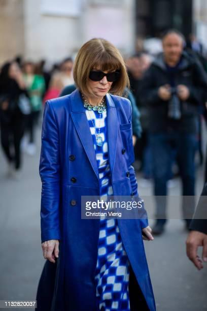 Anna Wintour is seen outside Dries van Noten during Paris Fashion Week Womenswear Fall/Winter 2019/2020 on February 27 2019 in Paris France