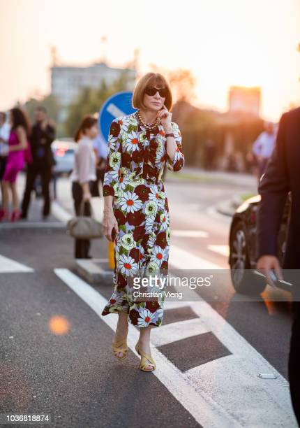 Anna Wintour is seen outside Prada during Milan Fashion Week Spring/Summer 2019 on September 20 2018 in Milan Italy