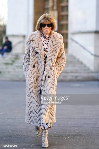 Anna Wintour is seen, outside Schiaparelli, during Paris Fashion Week - Haute Couture Spring/Summer 2020, on January 20, 2020 in Paris, France.