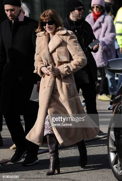Anna Wintour is seen outside the Coach show during New York Fashion Week Women's A/W 2018 on February 13 2018 in New York City
