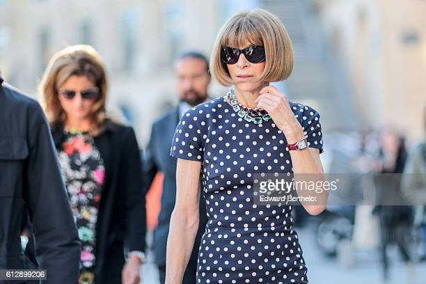 Anna Wintour is seen outside the Louis Vuitton show during Paris Fashion Week Spring Summer 2017 on October 5 2016 in Paris France