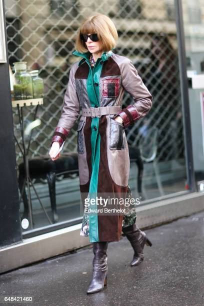 Anna Wintour is seen outside the Valentino show during Paris Fashion Week Womenswear Fall/Winter 2017/2018 on March 5 2017 in Paris France