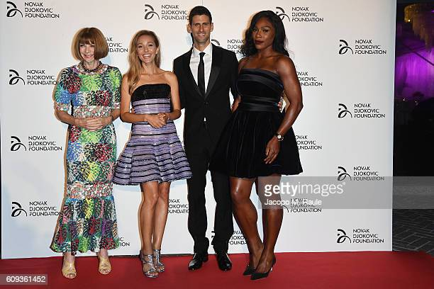 Anna Wintour, Jelena Djokovic, Novak Djokovic and Serena Williams attend the Milano Gala Dinner benefitting the Novak Djokovic Foundation presented...