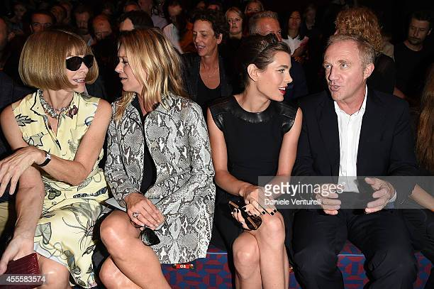 Anna Wintour Kate Moss Charlotte Casiraghi and FrancoisHenri Pinault attend the Gucci show as part of Milan Fashion Week Womenswear Spring/Summer...