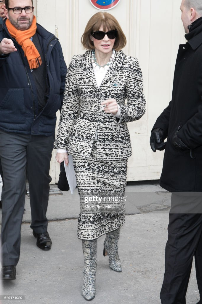 Anna Wintour leaves the CHANEL show as part of the Paris Fashion Week Womenswear Fall/Winter 2017/2018 on March 7, 2017 in Paris, France.