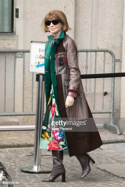 Anna Wintour leaves the Miu Miu show as part of the Paris Fashion Week Womenswear Fall/Winter 2017/2018 on March 7 2017 in Paris France