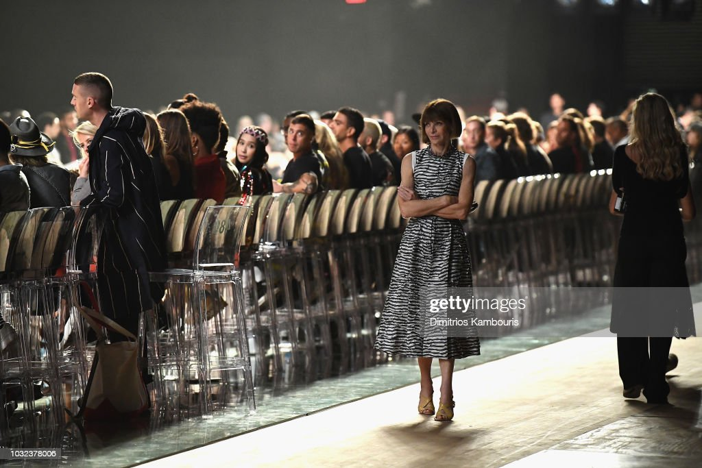 Anna Wintour looks on at the Marc Jacobs Spring 2019 Runway Front Row during New York Fashion Week: The Shows at Park Avenue Armory on September 12, 2018 in New York City.
