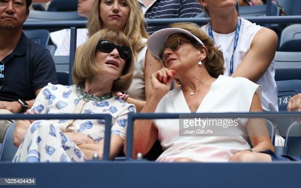 Anna Wintour Lynette Federer mother of Roger Federer of Switzerland attend his match in his player's box during day 4 of the 2018 tennis US Open on...