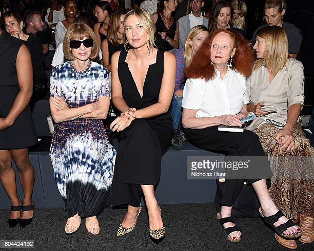Anna Wintour Maria Sharapova and Grace Coddington attends the Vera Wang Collection fashion show during New York Fashion Week The Shows at The Arc...