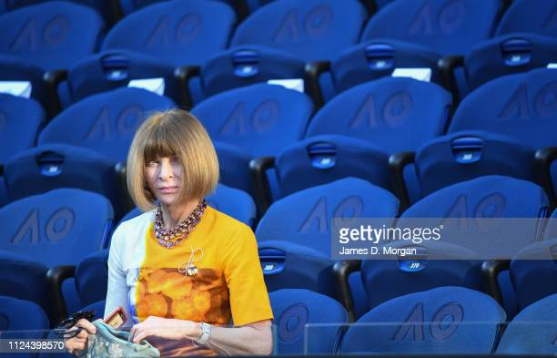 Anna Wintour on Rod Laver Arena ahead of the Rafael Nadal versus Stefanos Tsitsipas mens semi final at the 2019 Australian Open at Melbourne Park on...