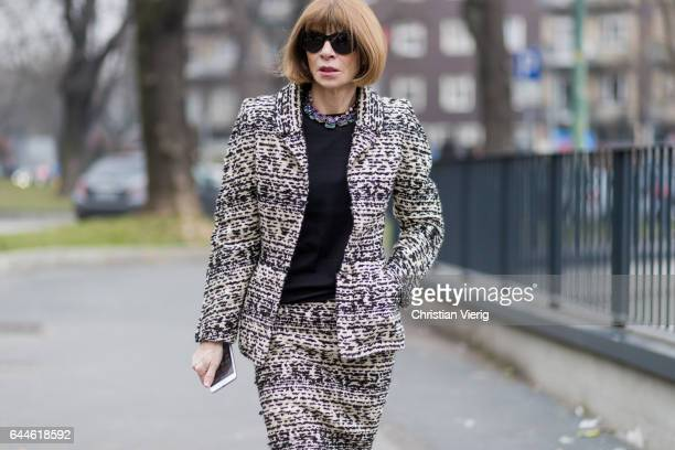 Anna Wintour outside Fendi during Milan Fashion Week Fall/Winter 2017/18 on February 23 2017 in Milan Italy