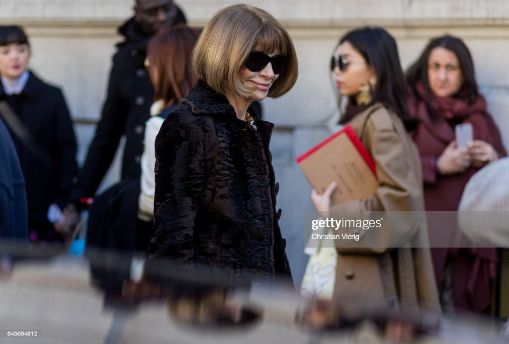 Anna Wintour outside Marni during Milan Fashion Week Fall/Winter 2017/18 on February 26, 2017 in Milan, Italy.