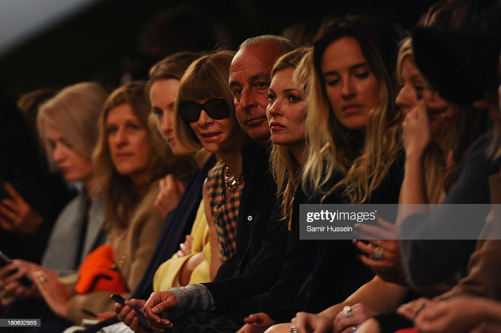 Anna Wintour, Philip Green and Kate Moss attend the Unique show during London Fashion Week SS14 at TopShop Show Space on September 15, 2013 in London, England.