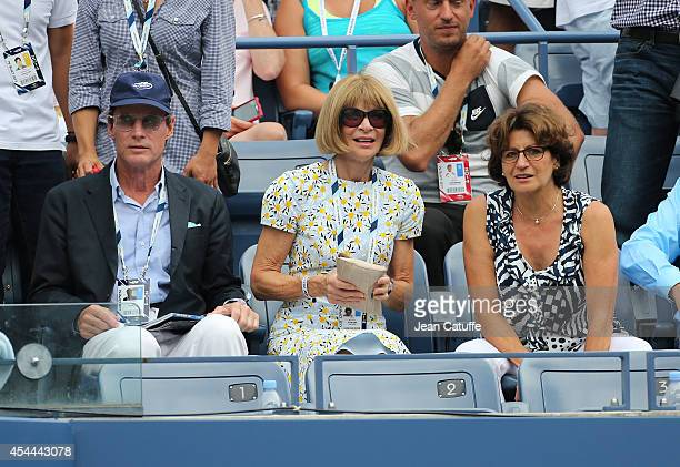 Anna Wintour seats between Shelby Bryan and Lynette Federer Roger's mother during Day 7 of the 2014 US Open at USTA Billie Jean King National Tennis...