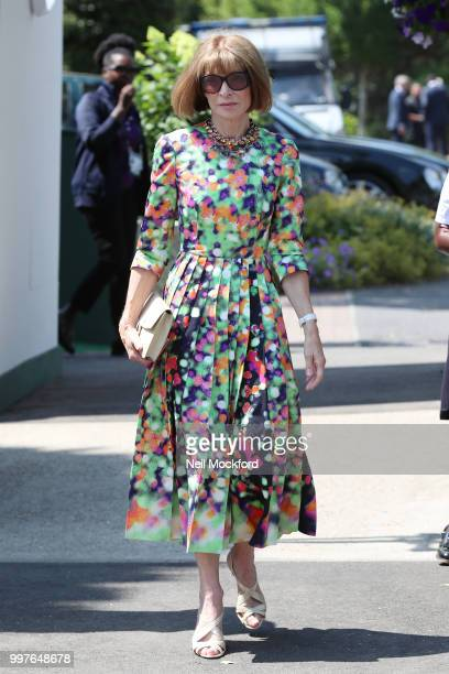 Anna Wintour seen arriving at Wimbledon for Men's Semi Final Day on July 12 2018 in London England